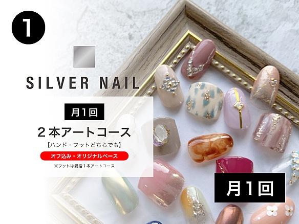 ①SILVER NAIL◇月1回 2本アートコース《ハンド or フットどちらでも可》